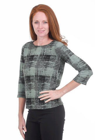 Cut Loose Pixel Check Boatneck Tee, Swiss Chard