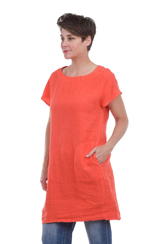 Fenini Easy Linen Short Dress, Lava Orange