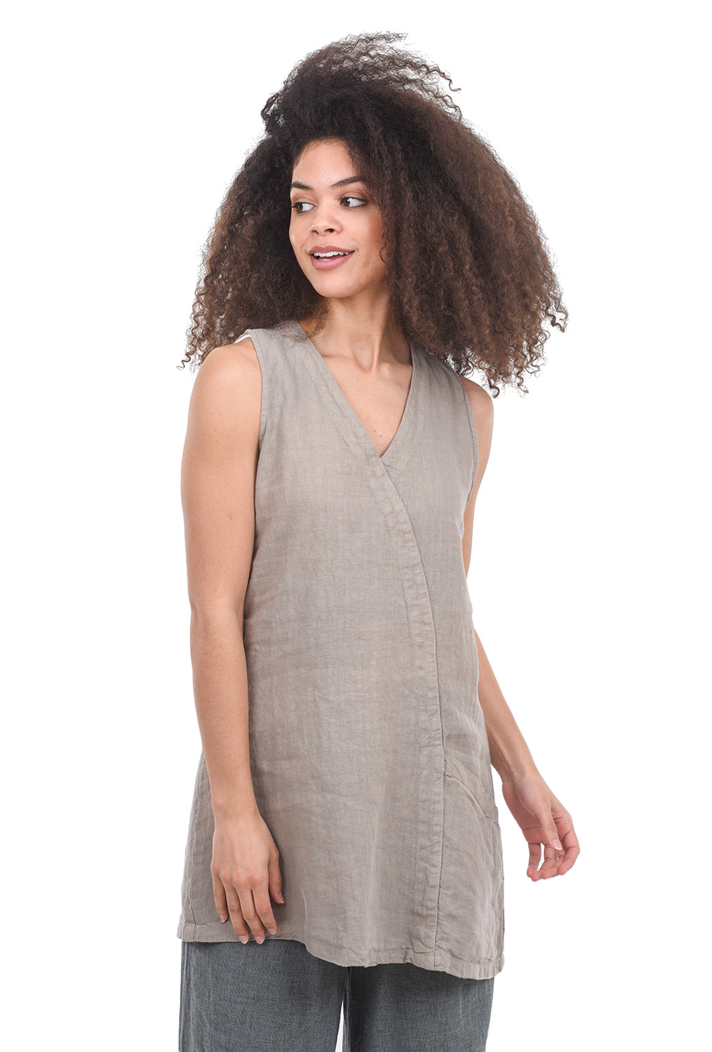 Cut Loose Linen One-Pocket Tunic, Lentil Taupe