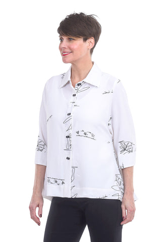 Moonlight Doodle Posy Blouse, White/Black
