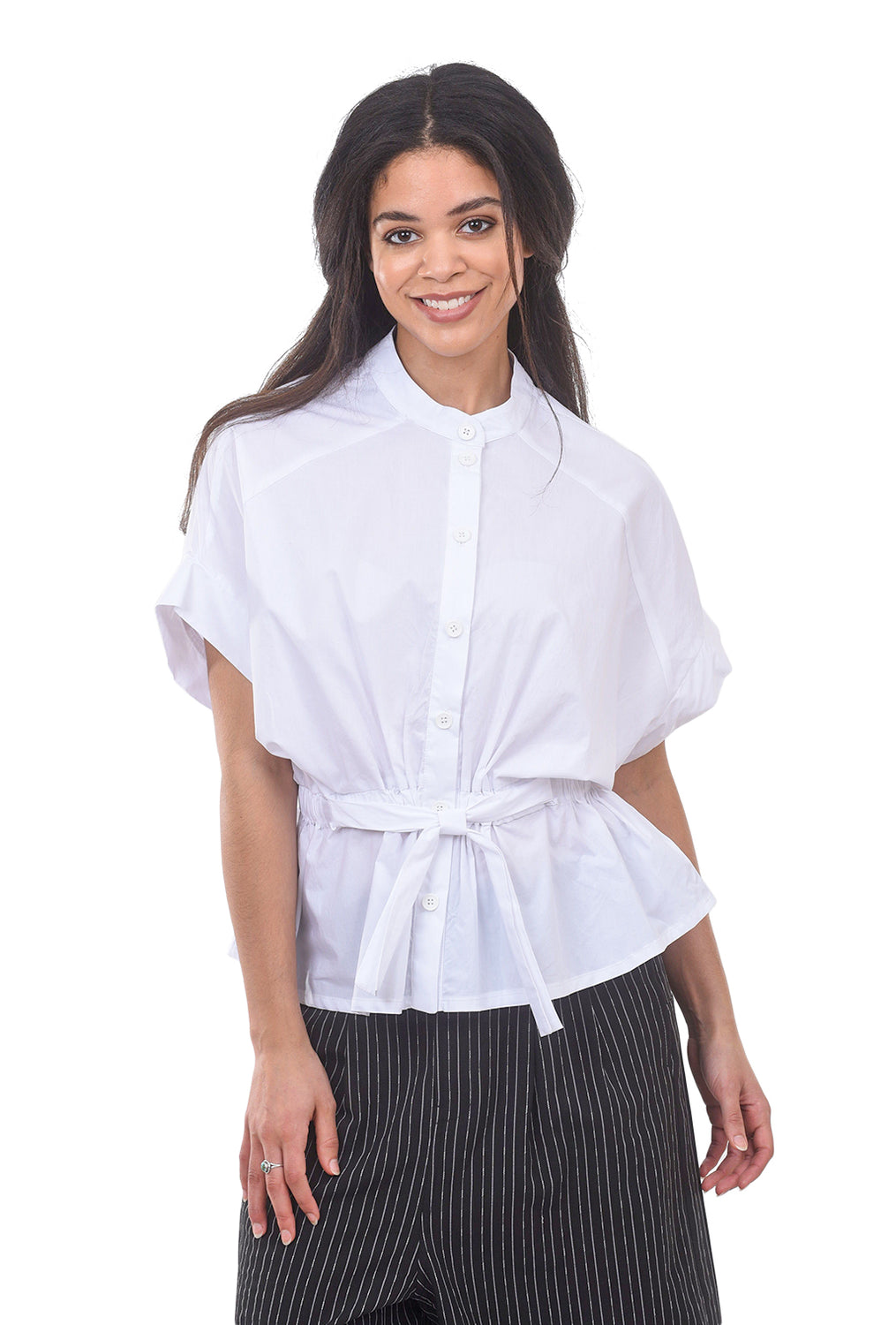 Amma Gather-Waist Crisp Blouse, White