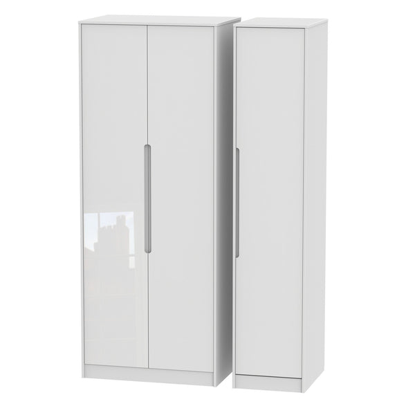 Chelsea Gloss - Tall Plain Triple Wardrobe
