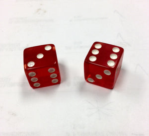Dice Tops and Bottoms Transparent Red 1,2,3 & 1,5,6 - Casino Supply