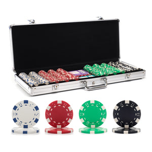 500 pc. 11.5g Dice Rim Poker Chip Set with Aluminum Case