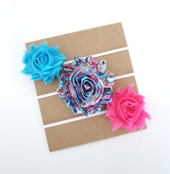 Teal and Hot Pink Headband Set, Baby Headband Set - LoliBean