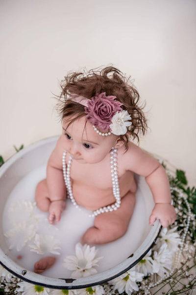 Mave and Ivory Shabby Chic Headband, Newborn Headbands - LoliBean