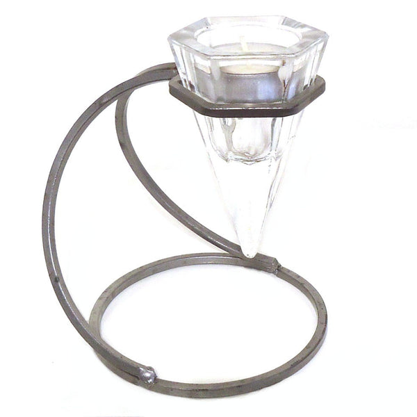 Wrought Iron & Glass Candle Holder