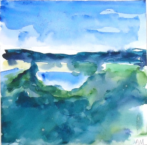 Watercolor landscape painting in blues and greens of Cape May Bird Sanctuary by Amanda Moseley