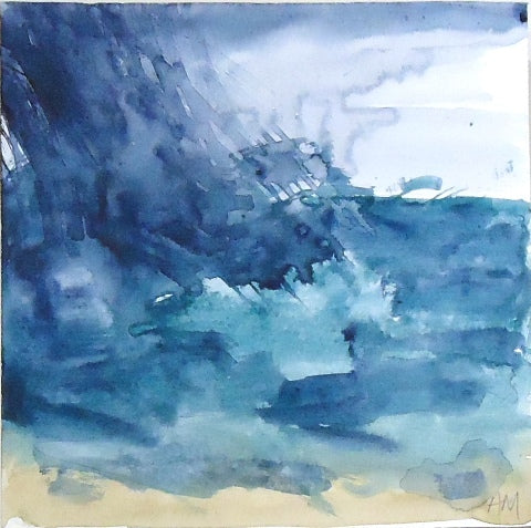 Watercolor painting of blue wave crashing on beach by Amanda Moseley