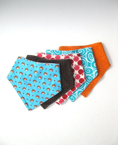 5 Baby Drool Bibs- Baby Shower Gift- New Baby Gift Idea- Baby Bandana Bib Set