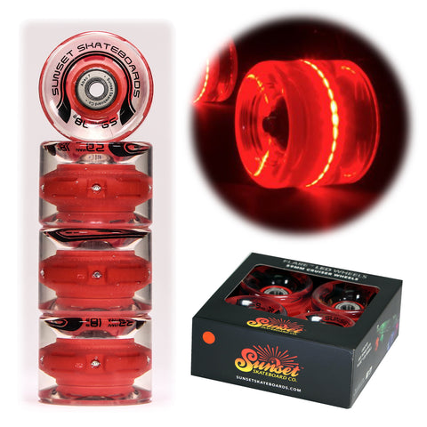 Red 59mm Cruiser Wheel Sets with ABEC-7 Carbon Steel Bearings