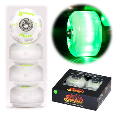 Green 54mm 90a Street Wheel Set with ABEC-7 Bearings (4-Pack)