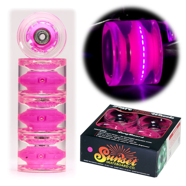 Pink 65mm Longboard Wheel Set - Conical - with ABEC-9 Bearings (4-Pack)