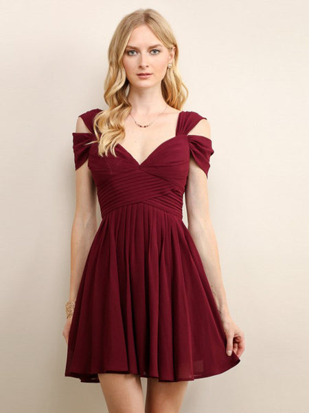 Loren Double Off The Shoulder Sweetheart Short Dress in Winter Wine - Bon Robe Dresses