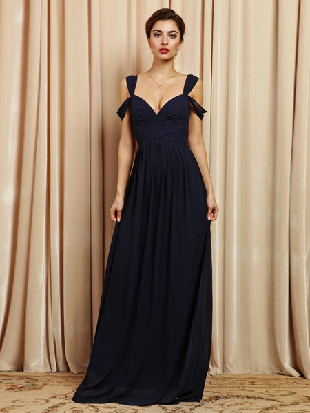 Loren Double Off The Shoulder Sweetheart Maxi Dress in Navy - Bon Robe Bridesmaid