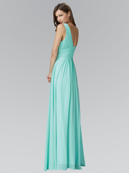 Long Chiffon Ruched Bodice One-Shoulder Dress Elizabeth K GL2028 - Bon Robe Bridesmaid