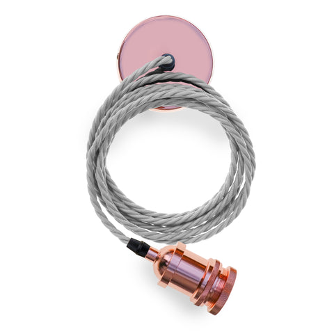 Eddie and Sons 1 Drop Rose Copper Pendant with Cream Cord