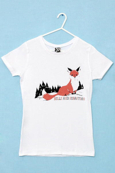 Ladies white 'Fox In The Snow' t-shirt