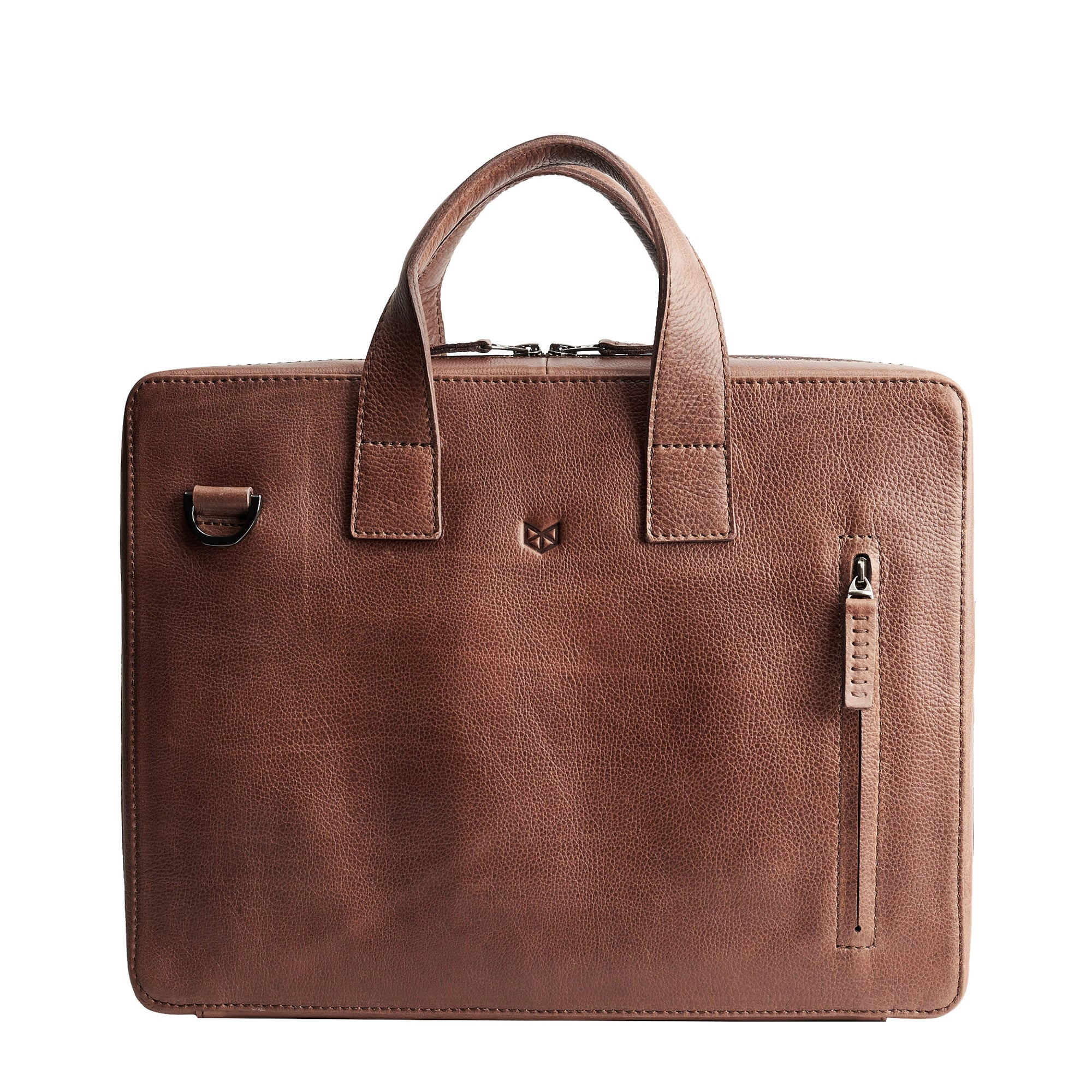 Brown leather workbag for men. Unique office style bag