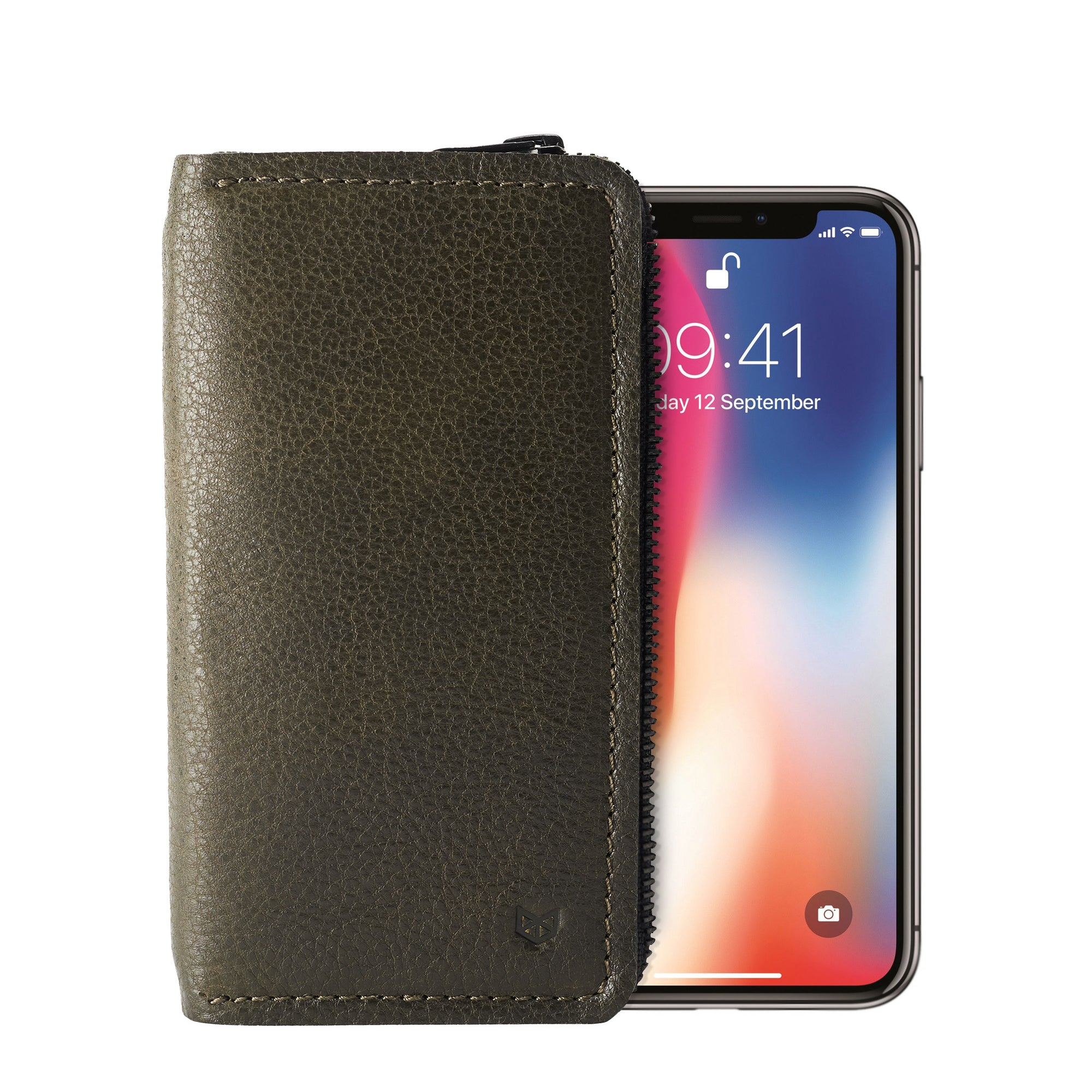 Green iPhone leather wallet stand case for mens gifts. iPhone x, iPhone 10, iPhone 8 plus leather stand sleeve