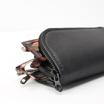 Two glasses inside. Handmade black leather glasses case with double compartment for sunglasses and reading glasses