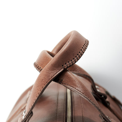 Hand stitched leather handles. Brown leather carryall bag. Mens travel weekender bag