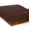 Macbook pro touch bar leather sleeve. Dark brown leather folio for mens gifts.