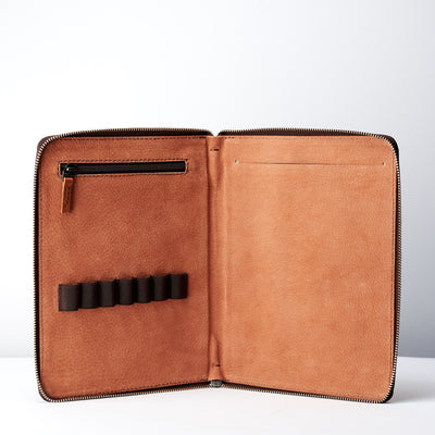 Interior. Pen pencil slot. A5 leather notebook cover by Capra Leather. Gifts for artists.