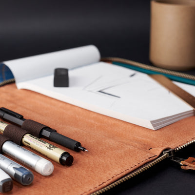 Style. A5 leather notebook cover by Capra Leather. Gifts for artists.