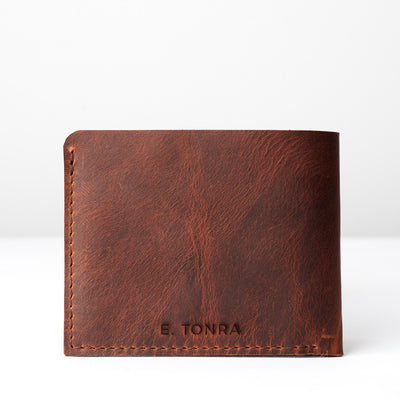 Engraving. Leather sandstone slim wallet gifts for men handmade accessories. minimalist full grain leather thin wallet. Made by Capra Leather.