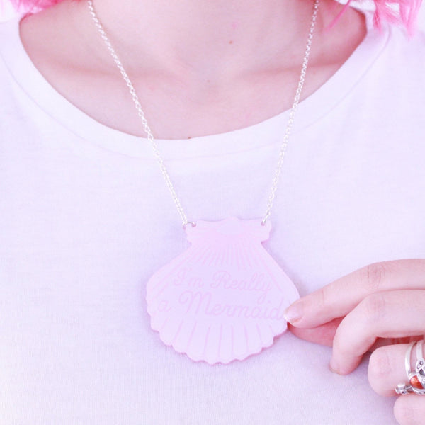 Pink Pearlescent Mermaid Shell Necklace