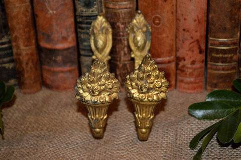 French Antique Tie Backs Hook Pair Bronze Curtain Drapery Hardware