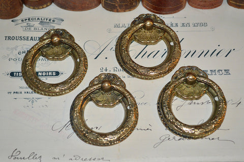 Antique Set of 4 French Ring Drawer Pulls Brass Hardware