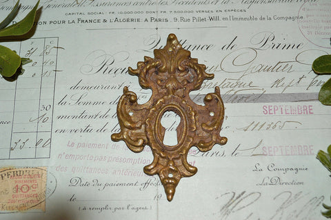 Antique French Bronze Furniture Escutcheon Ornate Keyhole 2 Available