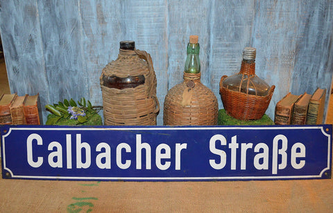 Vintage Blue Enamel Street Sign German Large 3 ft Calbacher Strabe