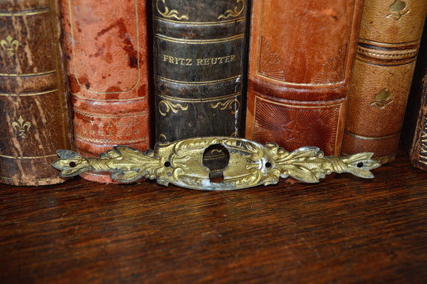 Antique French Keyhole Escutcheon Pressed Bronze Horizontal Hardware - Antique Flea Finds - 3