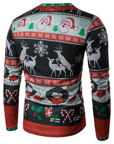 WHATLEES Long Sleeve Crewneck Snow Print T-Shirt Merry Christmas Ugly Sweater Underwear Family Wear B397-10