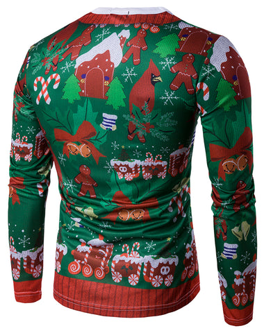 WHATLEES Long Sleeve Crewneck Snow Print T-Shirt Merry Christmas Ugly Sweater Underwear Family Wear B397-14