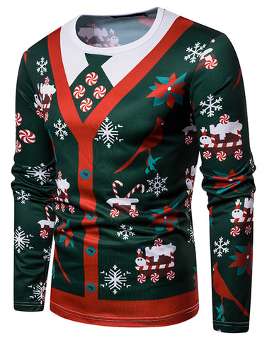 WHATLEES Mens Christmas Ugly Red Cardigan Tie Print Party Long Sleeve T-Shirt B666-64