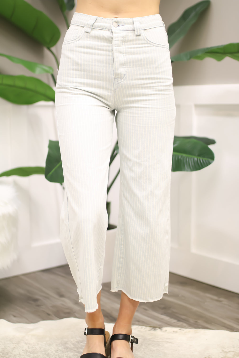 Perfectly Pinstriped Pants - Light Denim