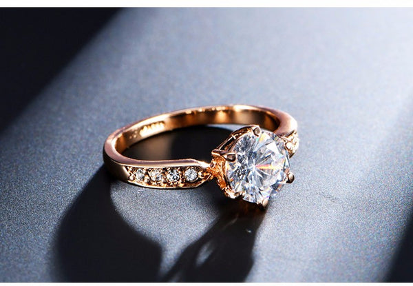 1.75 CT  Zircon  Rose or Silver Gold Plated Solitaire & Austrian Crystal Solitaire