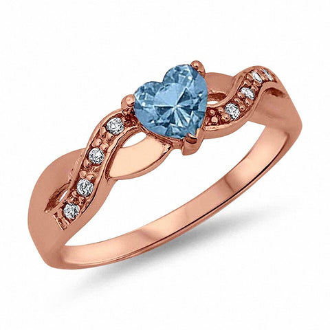 Infinity Accent Wedding Band Ring Heart Shape Simulated Blue Aquamarine Round CZ 925 Sterling Silver Choose Color