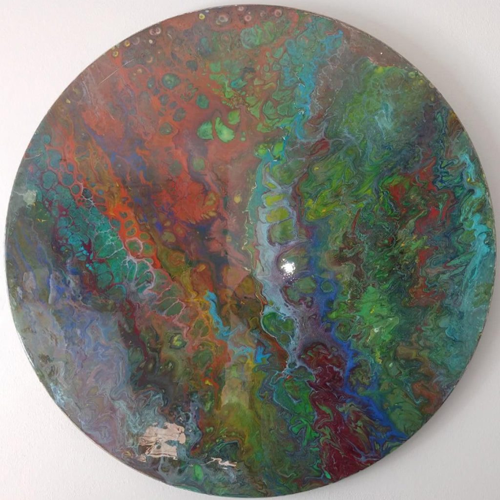 Customer Share - Pine Round Acrylic Pour