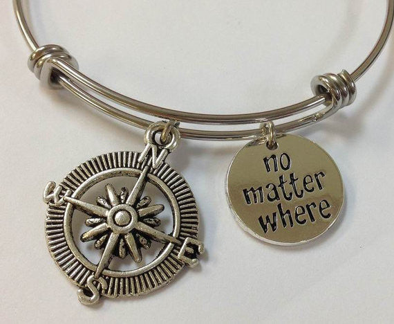 No Matter Where Bangle Bracelet Compass Graduation Grads