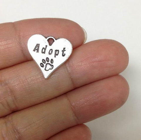 10pcs Adopted dog Heart charms