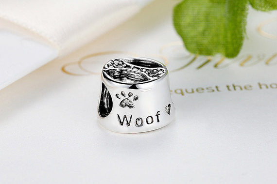 Dog Woof Charm 925 Sterling Silver