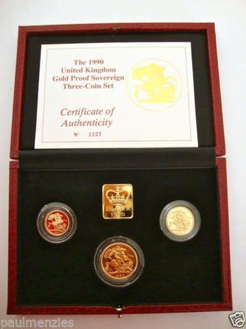 1990 GOLD PROOF THREE COIN SET COLLECTION £2 SOVEREIGN 1/2 HALF SOVEREIGN