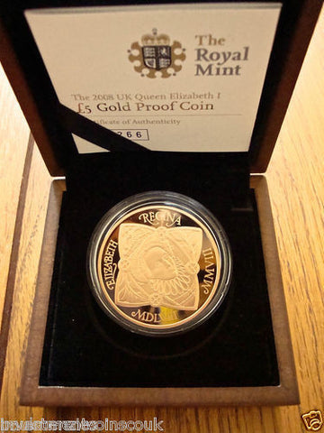 1558 - 2008 450th ANNIVERSARY ACCESSION ELIZABETH I 5 FIVE POUND GOLD PROOF FDC