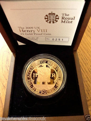 1509 - 2009 500th ANNIVERSARY ACCESSION HENRY VIII 5 FIVE POUND GOLD PROOF FDC