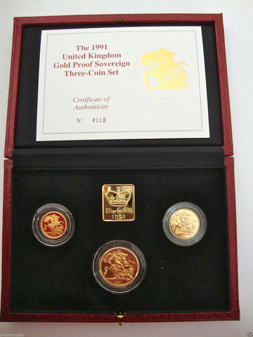 1991 GOLD PROOF THREE COIN SET COLLECTION £2 SOVEREIGN 1/2 HALF SOVEREIGN